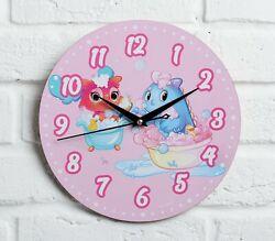 Children's Wall clock Dinosaurs, d = 29 cm, basis - wood-fiber board
