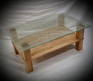 MarionSoPo / Couchtisch Tisch Stubentisch Crashglas Glas Kernbuche Massiv Geölt