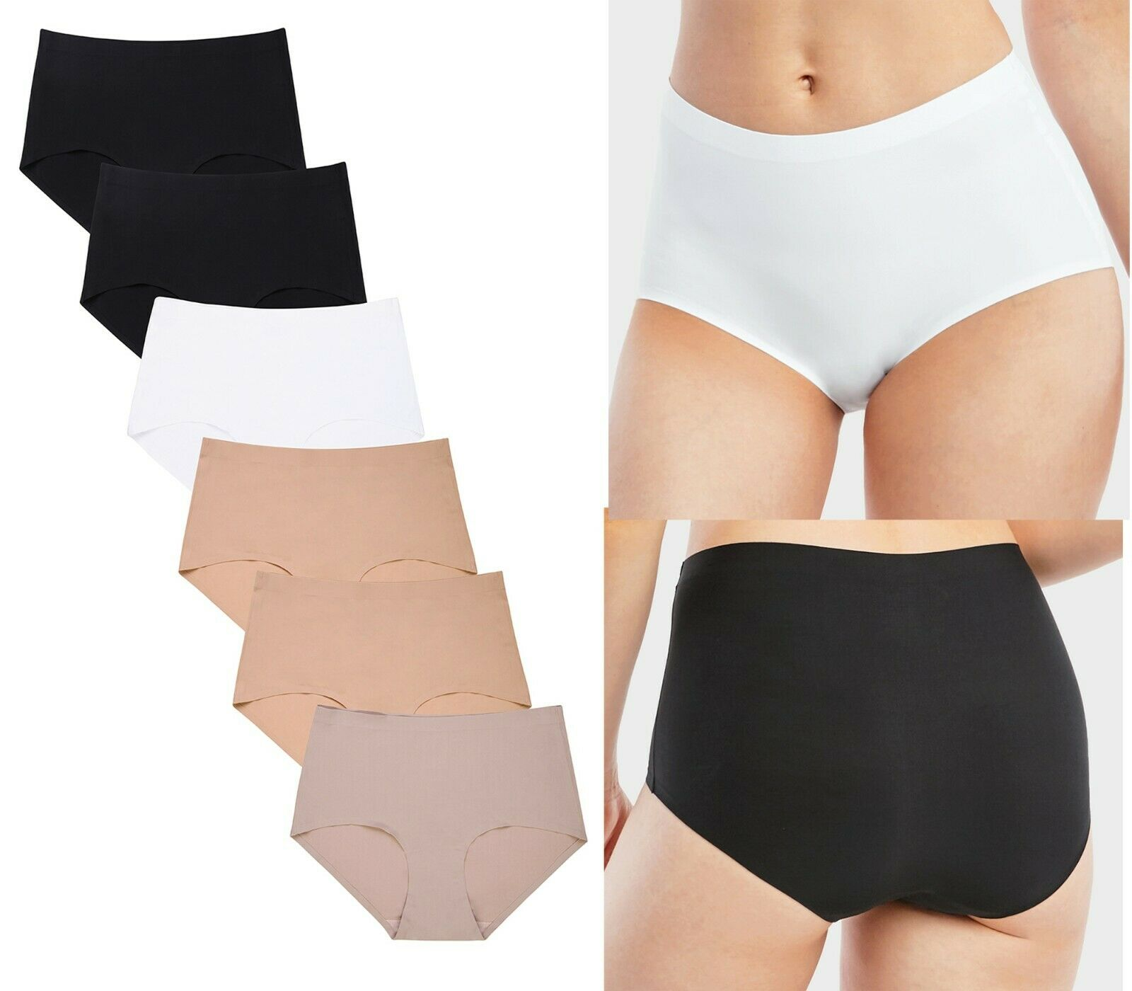 6 Women 2X 3X Plus Size High Waist Tummy Slim Control Underwear Brief Panty Clothing, Shoes & Accessories