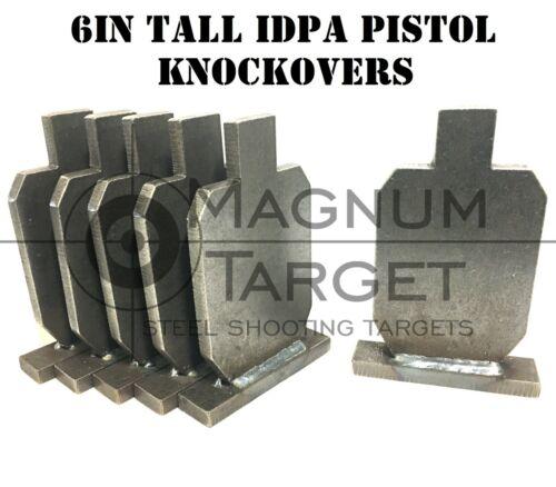 6in. IDPA Knock-over Shooting Targets - 3/8in Steel Pistol 6pc. - Metal Targets