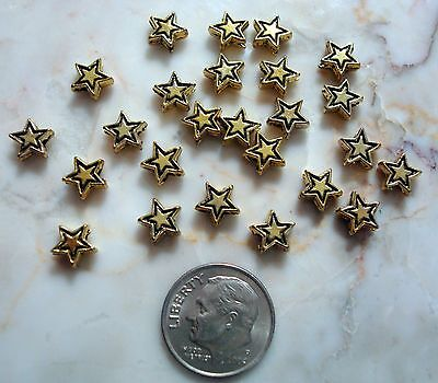 - 25 Yellow gold plated 7mm star shaped spacer beads create earrings, beads fpb178
