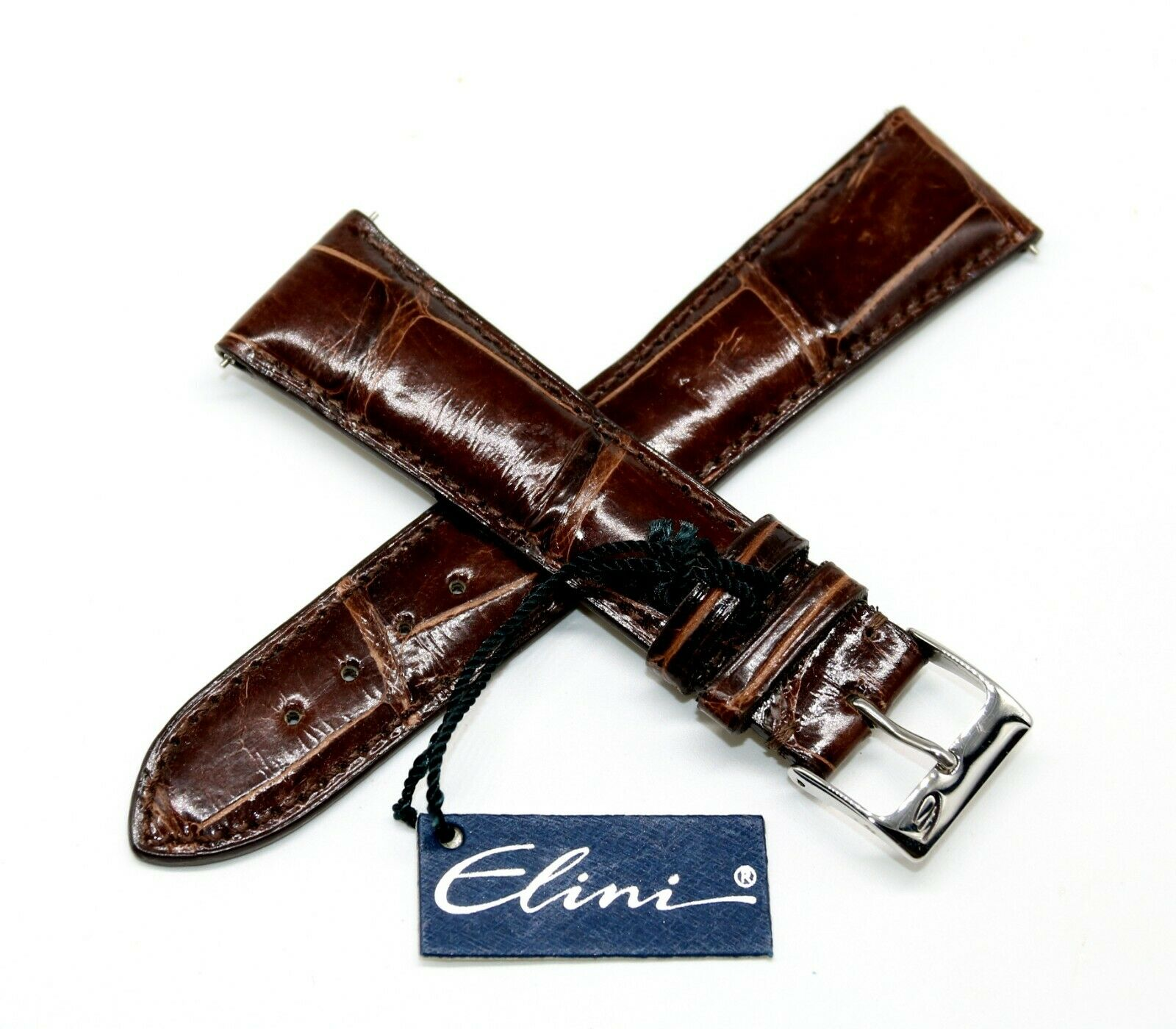 Elini 22mm Echt Alligator Lederarmband Braun