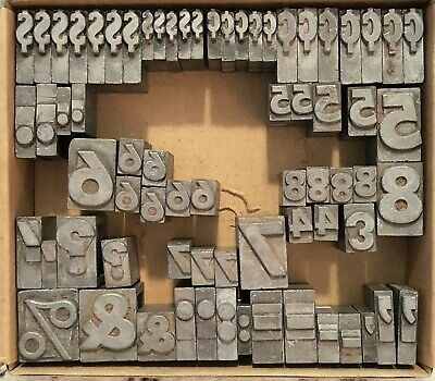 Vintage Mixed Letterpress Numbers Symbols 70 Count Lot