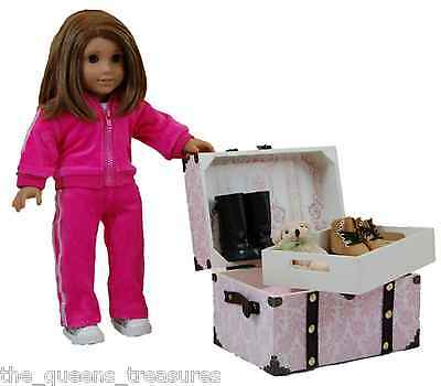 "PINK STEAMER TRUNK For 18"" American Girl Doll Clothes,Shoe & Accessory Storage on Rummage"