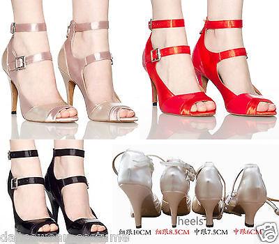 New Women's Satin Prom Tango Ballroom Latin Salsa Dance Heels Shoes 3Color US5-9