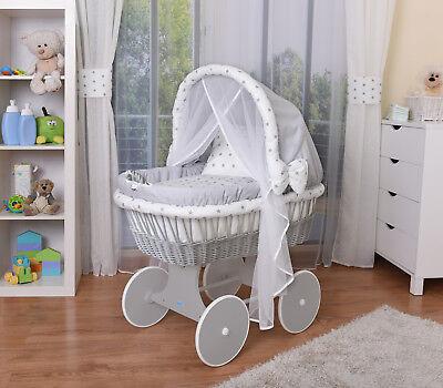 WALDIN Baby Bollerwagen,Stubenwagen,komplett mit Zubehör,Stoffe