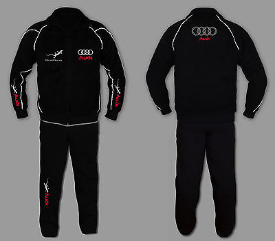 Sweatsuit Jacke Hose (AUDI QUATTRO Anzug Jogginganzug Set Sweat Suit Trainings Jacke Hose STICKEREI EU)