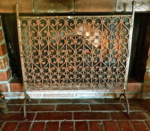 Antique Arts & Crafts Hand Wrought Iron Fireplace Screen GREAT BUY IT NOW! L@@K!