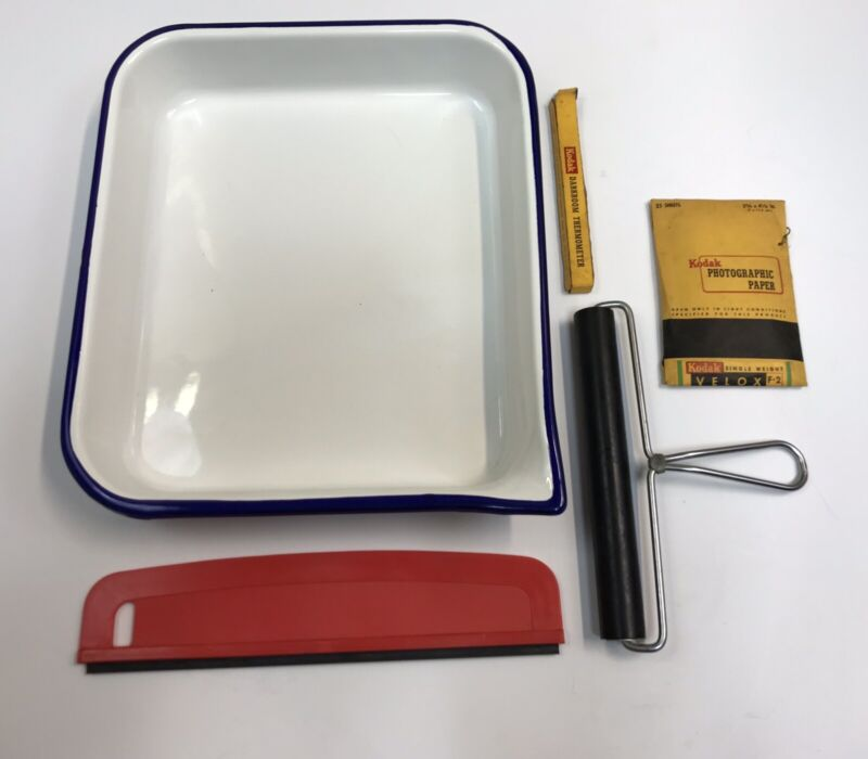 Photography Developing Lot-Kodak-Thermometer-Tray-Kodak Photo Paper-Vintage