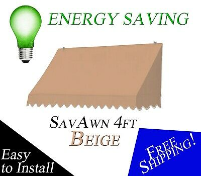 BIG BLOWOUT SavAwn Retractable 4' Beige Sand Tan Brown Window Door Awning Canopy