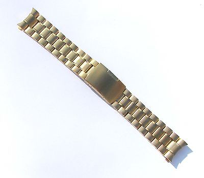 (22mm High Quality Stainless Steel Watch Band Gold-Tone Curve End Solid Links)
