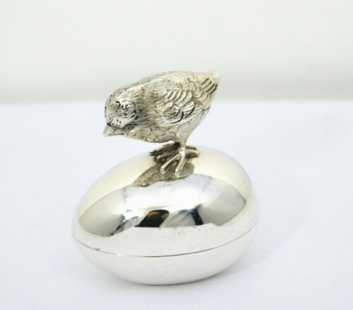 #9272- Rare Fabulous Vtg Tiffany & Co Stering Silver Chicken & Egg Bird Pill Box
