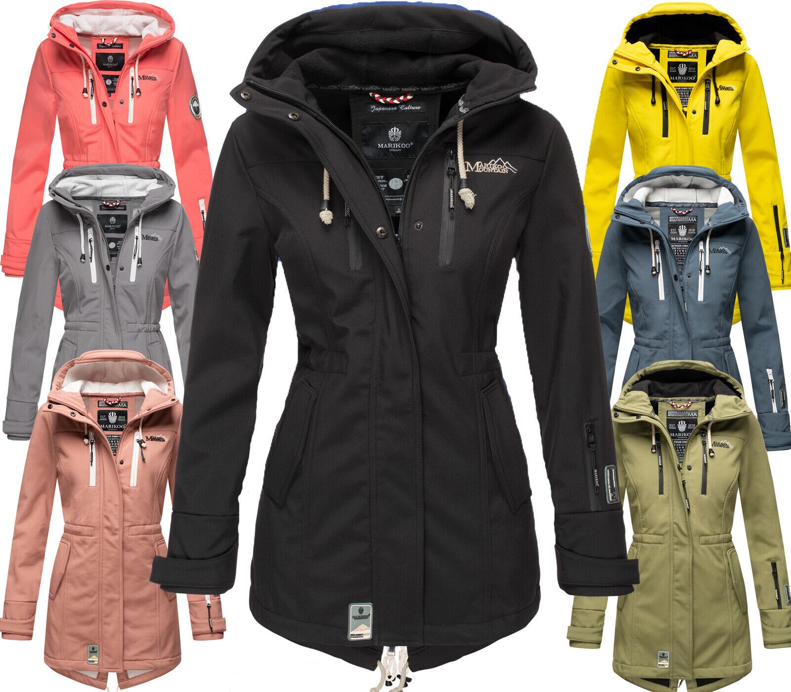 Marikoo Damen Softshell Outdoor Jacke Übergangs Winter Regen Mantel Zimtzicke