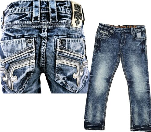 *NWT - Rock Revival Mens Cael Straight Cut Jeans - 29 30 32 34 36 38 40