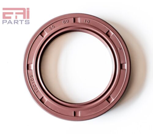 EAI Viton Oil Shaft Seal 55x80x10mm Grease Dbl Lip w/ Stainless Steel Spring