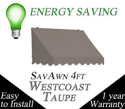 SUPER SALE! SavAwn Waterproof Retractable 4' Gray/Brown Taupe Window/Door Awning