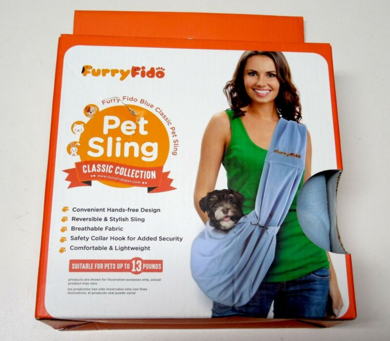 Furry Fido Blue Classic Pet Sling/Dog Carrier Up to 13 Pounds Cats& Dogs - NEW