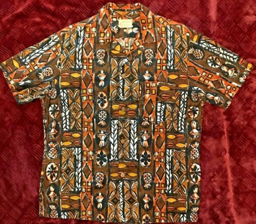 Vintage Royal Hawaiian Tapa print Hawaiian Shirt-L