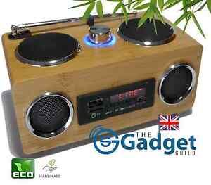 Multifunction Bamboo Outdoor Speaker, Radio, portable USB TF card MP3 30%off RRP