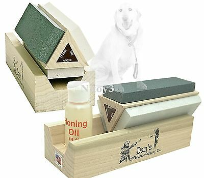 Dan S Whetstone Tri Stone Knife Sharpening System W  Honing Oil
