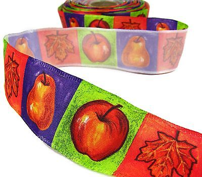5 Yds Autumn Artistic Fall Wired Ribbon 1 1/2