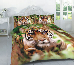 luxury 3d tiger animal skin print duvet cover with pillowcase quilt bedding set ebay. Black Bedroom Furniture Sets. Home Design Ideas