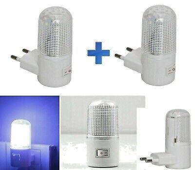 2PZ LUCE A LED NOTTURNA CON INTERRUTTORE ON OFF LAMPADA PER LA NOTTE