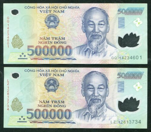 1 Million Vietnam Dong currency = 2 x 500000 500,000 dong , Circulated