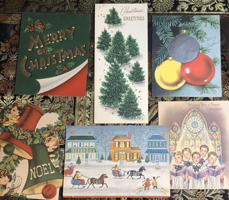 Vintage Christmas Cards (6) Made In USA Great Graphics! #1
