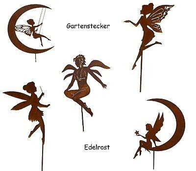 Fee Flügel Mond Edelrost Zauberstab Gartenstecker Skulptur Metall Rost Garten