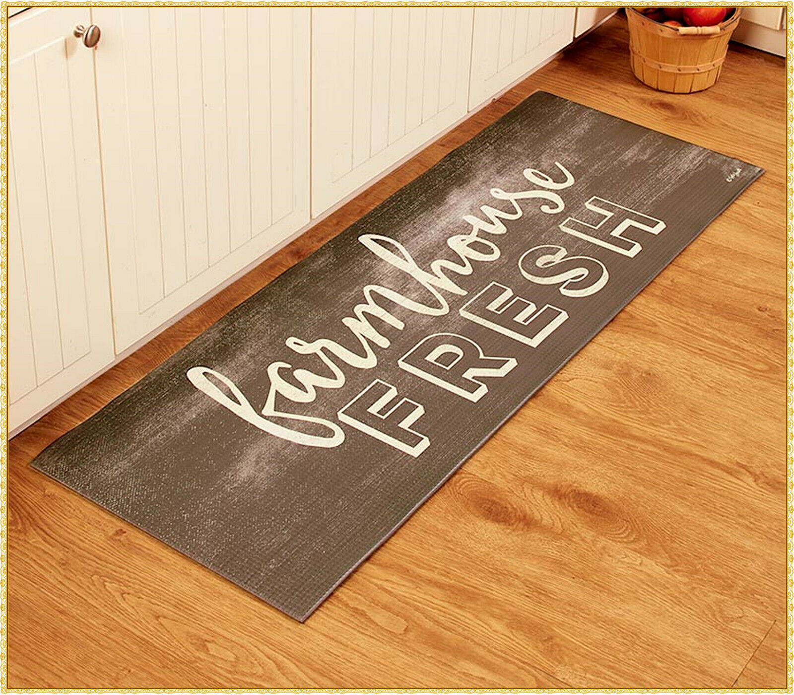 FARMHOUSE FRESH Cushioned Soft Kitchen Runner Rug Mat Countr