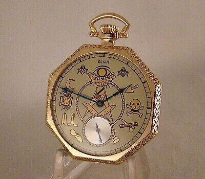 109 YEARS OLD ELGIN 17j 14k GOLD FILLED OPEN FACE MASONIC DIAL POCKET WATCH