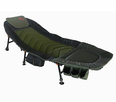 Carp Fishing Bed Chair Bedchair Camping 6 Adjustable Legs Tool Bag Pillow FB-008