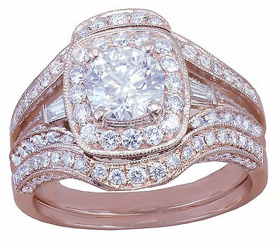 GIA H-VS2 14k Rose Gold Round Cut Diamond Engagement Ring And Bands 2.70ctw 4
