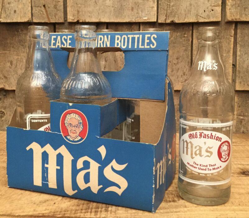 RARE 1940s MA'S SODA 6 Pack Bottles & Cardboard Carrier Bangor ME Advertising