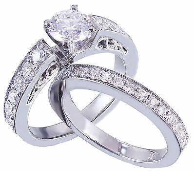 GIA H-SI1 14k White Gold Round Cut Diamond Engagement Ring And Band Deco 1.45ctw 7