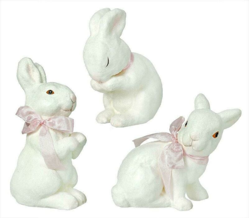 Bethany Lowe Easter Set Of 3 Different Playful Bunnies SN7372
