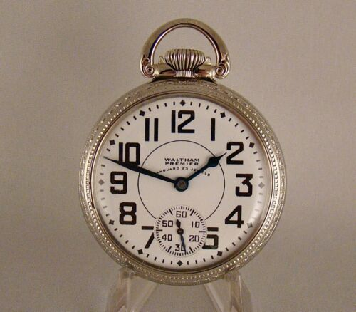 """WALTHAM """"VANGUARD"""" 23j WWII 14k WHITE GOLD FILLED OPEN FACE 16s RR POCKET WATCH"""