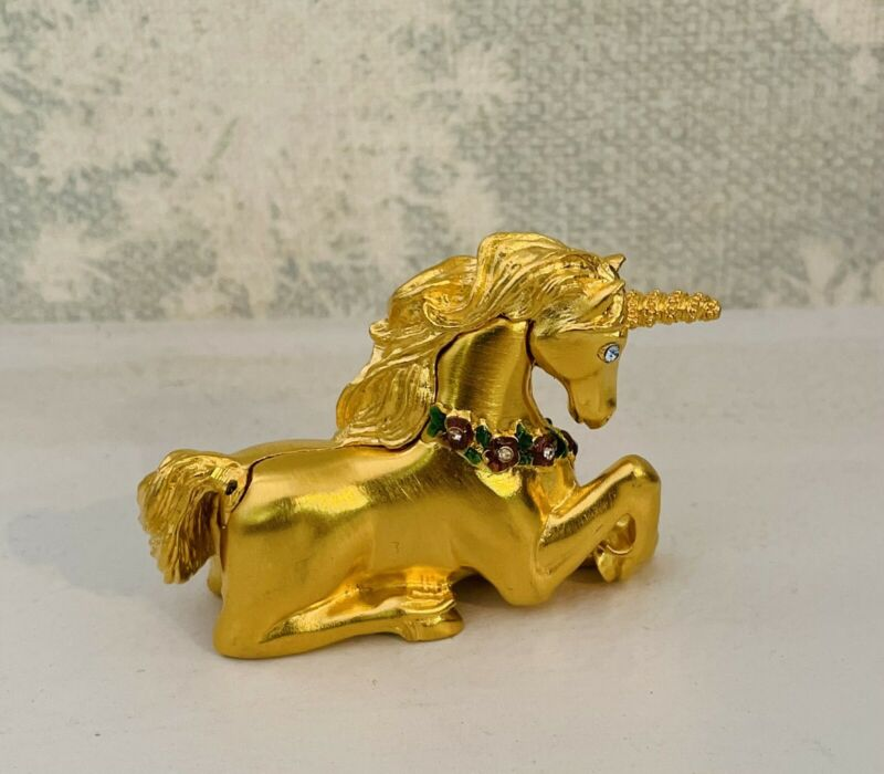 Early 1980s Unicorn Statue Figure Figurine Gold Colored Metal Weighted Bejeweled