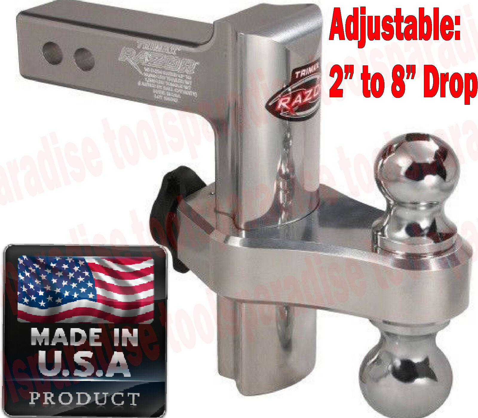 "2"" in Receiver Trailer Hitch Ball Mount ADJUSTABLE 2"" to 8"" DROP Class III/ IV"