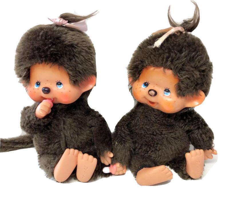 """2 Sekiguchi 7"""" Monchichi Monchhichi Plush Thumbsucker Monkey Dolls 1974 Japan"""