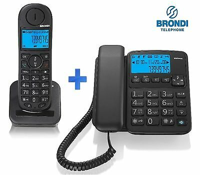 KIT TELEFONO FISSO + CORDLESS INTERCOMUNICANTI DECT VIVAVOCE DISPLAY LCD BRONDI