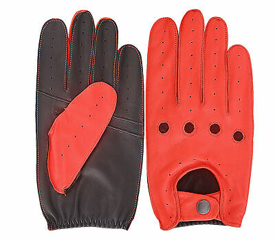Unisex Warm Red and Black Men Women Leathers Gloves Knuckle Hole Fashion S - XL