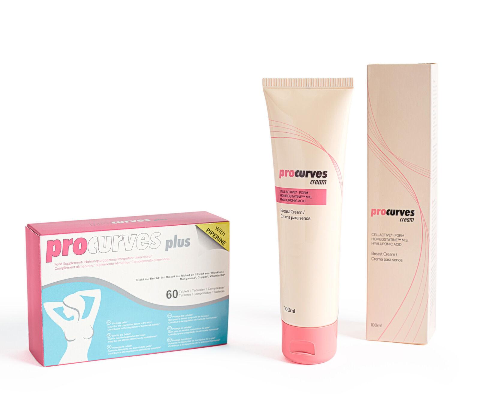 Procurves Plus Tabletten + Cream zur Brustvergrößerung XL Brust Bruststraffung