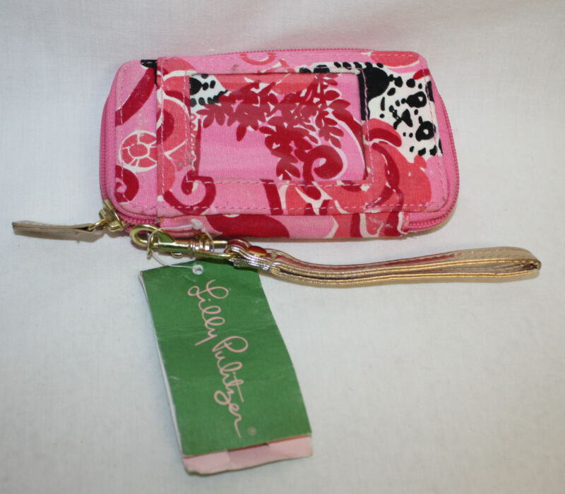 Women Ladies Lilly Pulitzer Pink ID Wristlet New