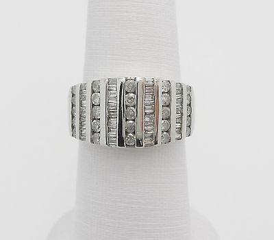 Zales 1CT Round & Baguette Diamond Anniversary Wedding Band Ring 10K White Gold