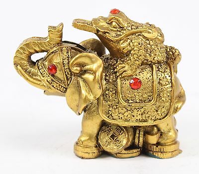 "Feng Shui 3"" Money Frog On Elephant Figurine Wealth Figurine Gift & Home Decor"