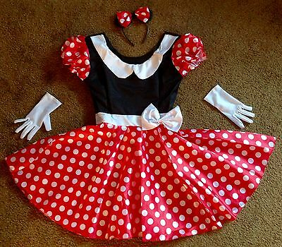 NEW DISNEY MINNIE MOUSE COSTUME DRESS & EARS HEADBAND & GLOVES ADULT WOMENS M - Minnie Mouse Womens Costume