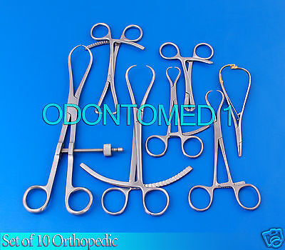 Set Of 10 Pcs Orthopedic Surgical Instruments