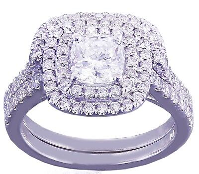 GIA H-VS2 14K White Gold Cushion Cut Diamond Engagement Ring And Band Halo 1.85